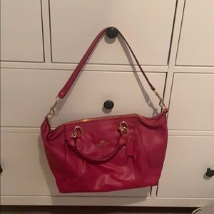 Hot pink leather coach purse